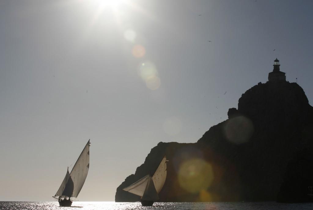 Palagruza , 23.06.2012 - Regata tradicijskih brodova na 4.Festivalu Mora Rota Palagruzona u organizaciju kulturne ustanove Ars Halieutica .Na ruti od Komize do Palagruze sudionici regate jedrili su 42 nauticke mijlje kao sto su to nekada radili Komiski ribari
